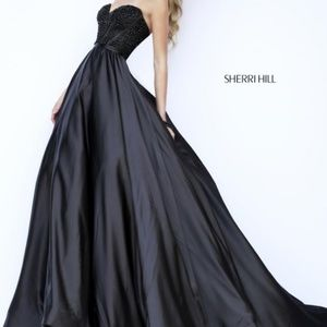 Sherri Hill Black Ballgown, Size 12/14 - Worn Once